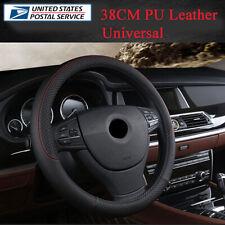 38CM Universal Black PU Leather Car Steering Wheel Cover Anti-slip Sports Style