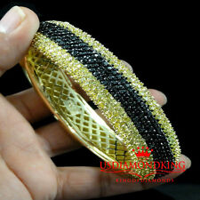 MEN'S 14K YELLOW GOLD FINISH BLACK CANARY LAB DIAMOND CUFF BANGLE BRACELET NEW