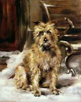 Charming oil painting Long-haired stray dogs in winter snow street no framed