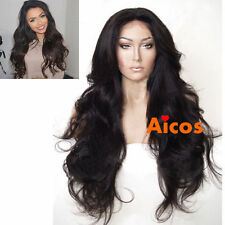 "24"" Wavy Glueless Black Synthetic Lace Front Wig Full Wigs Heat Resist +wig cap"