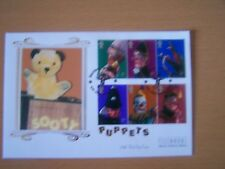 GREAT BRITAIN,2001,PUPPETS,PUNCH & JUDYCOMPLETE SET OF 6 VALS,ON FDC,EXCELLENT.