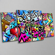 Personalized Graffiti Inspired Urban Artwork - 4 Piece Canvas Print Wall Art