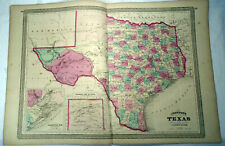 TEXAS MAP from Johnson's New Illustrated Family Atlas 1871 RARE 18 by 26 inches