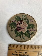 Vintage Brass Sewing Kit Needle Case Compact with Needlepoint Pink Rose Cover