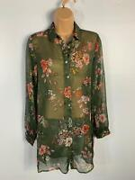 BNWT WOMENS PAPAYA GREEN FLORAL PATTERN CASUAL SUMMER SHEER BLOUSE SHIRT SIZE 8
