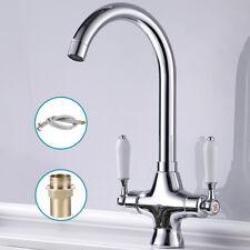 Traditional Kitchen Sink Mixer Taps Chrome Mono Basin Twin Lever Swivel Spout
