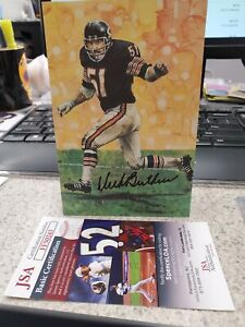 DICK BUTKUS/ARTIST GARY THOMAS SIGNED GOAL LINE ART CARD WITH COA FROM JSA