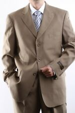 MENS SINGLE BREASTED 3 BUTTON TAN DRESS SUIT SIZE 38S, PL-60213-TAN