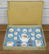 Collectable Antique Victorian Miniature Dolls Toy Child's China Tea Set in Gift
