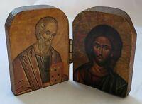 VINTAGE RELIGION HAND CARVED WOOD FOLDING FIGURE DISPLAY BOOK THEME OLD CATHOLIC