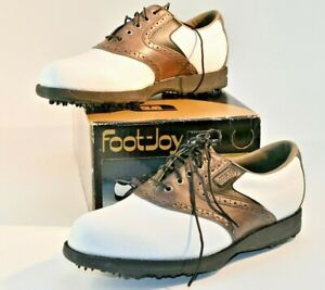 FOOTJOY 53745 Men's White/Brown Oxford Lace-Up TURFMASTER Golf Shoes, Size 8M