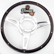 "Classic Car Ford MG Jaguar Triumph Dark Wood Rim Riveted 13"" Steering Wheel"