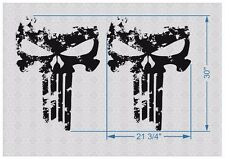 "pair 30"" PUNISHER skull Distressed hood side vinyl decal sticker for car track"