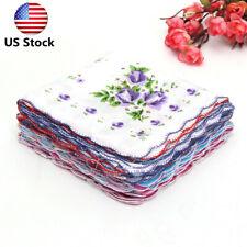 Us 20Pcs Retro Style Flowers Bird Handkerchief Cotton Square Hanky Ladies Women