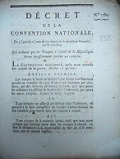 752 DÉCRET N°1782  CONVENTION NATIONALE 1793 TROUPE CHEVAL MILITAIRE INFANTERIE