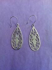 shaped Earrings, handmade in Nepal Sterling Silver Joli cut Teardrop