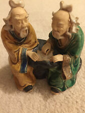 Vintage 2 Seated Sages Chinese Mudmen  Mudma  Porcelain Figurines playing game
