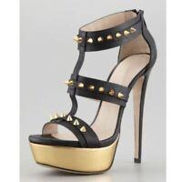 UK Womens Platform Rivets Sandals Super High Heel Nightclub Shoes Plus Size 2-11