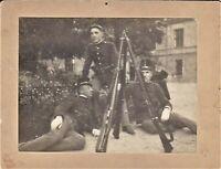 AUSTRO-HUNGARIAN SODIERS CAPS RIFLE WAR ANTIQUE MILITARY CABINET PHOTO