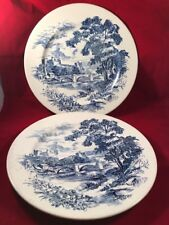 "2 Enoch Wedgwood 10"" Dinner Plates Countryside Blue White Tunstall England 1-67"
