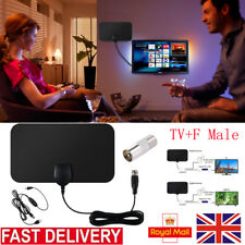 HD TV Booster Indoor Outdoor Mini Ultra Thin Antenna 50 Miles+Amplifier TV Ariel