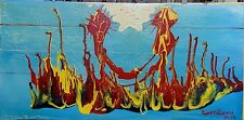 HAITIAN ART DRIP PAINTING ON MASONITE WOOD FRANK ETIENNE HAITI ABSTRACT