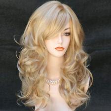 62cm Longueur Femmes Longue Ondulée Dorée Fraise Blonde Mélange Perruque Peau