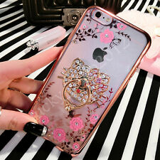 Cute Luxury Bing Diamond Crystal Flowers Ring Holder Stand Soft Phone Case Cover