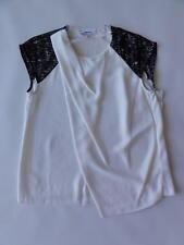 DKNYC COLORBLOCK DRAPED BLOUSE, Ivory, Size M, MSRP $99.50