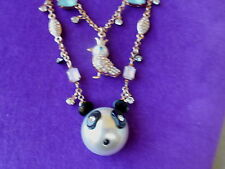 Betsey Johnson Authentic NWT Rose Gold-Tone Bird and Panda Layer Necklace