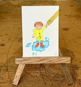 "ACEO ORIGINAL Miniature Art By PJR ""Jumping In A Puddle"". Happy Cute Child"