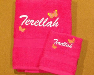 Personalised embroided bath and  face  towel set