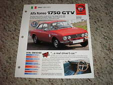 Italy 1967-1972 Alfa Romeo 1750 GTV Hot Cars Group 5 # 31 Spec Sheet Brochure