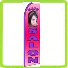Feather Swooper Flutter Tall Banner Sign 11.5' Flag - Hair Salon pink