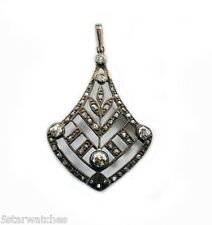 Vintage 1890's Large Victorian Old Mine Diamond Gold Silver top Pendant Necklace