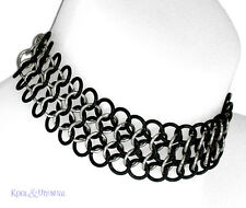WIDE Steel and Rubber Chain Mail Choker by SINPATIKO * Goth Punk Emo
