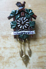Schwartwald black forest clock maker coo coo clock collectible hand painted pin