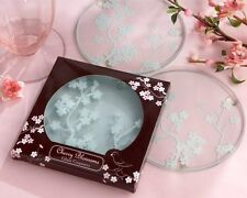 Cherry Blossom Blossoms Frosted Glass Coasters Gift Set Wedding Favors  2-pk
