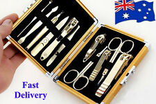 11Pcs Gold Nail Clipper Manicure kits Pedicure Beauty Set Stainless  Steel Gift