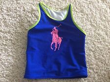 Polo Ralph Lauren Swimming Bathing Suit One Piece Blue Green Pink New 4 4T