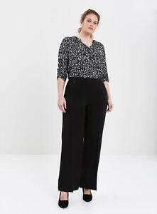 Evans Womens Black Wide Leg Trousers Pants Bottoms Workwear Regular Fit
