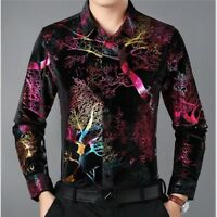 Men Velvet Shirts Casual Long Sleeve Blouse Flower Pleuche Tops Formal Business