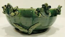 GREEN GLAZED BOWL PLANTER WITH (7) FROGS  MADE IN CHINA