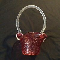 "Mouth blown RED CRANBERRY Rossi Glass BRIDES BASKET 11x7"" Just lovely! FACE"