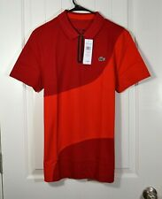NWT MENS LACOSTE SPORT RED POLO T SHIRTS 1/4 ZIP SHORT SLEEVE COTTON SZ M