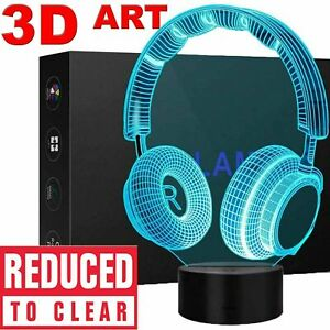 3D Illusion LED Night Light 7 Colour Touch Table Desk Lamp Kids Gifts