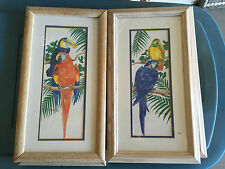 """VINTAGE SIGNED PAIR OF WATERCOLOR PARROT PRINTS FRAMED/MATTED 10""""x18"""""""