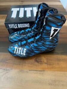 Title Boxing Predator Boxing Shoes - Black / Blue - Size 11