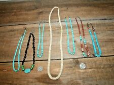 QTY 7 Santo Domingo Navajo Native Shell Sterling Turquoise Heishi Bead Necklaces