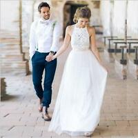 Halter White/Ivory Lace Tulle Beach Wedding Dress Bridal Gown Custom Size 4 6 ++